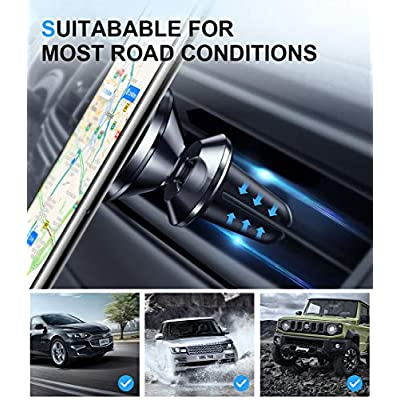 humixx Universal Car Phone Mount Air Vent Magnetic Phone Holder 360° Rotation Magnet Car Phone Holder for All Phones iPhone SE 11 Pro Max XR Xs Max X 7 8 Samsung Galaxy S20 Note S10 + Black