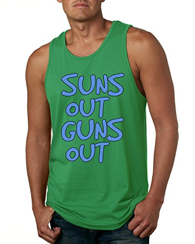 Suns Out Guns Out 22 Jump Street Blue Design Men's Fashion Tank Top (Kelly Green , Large )