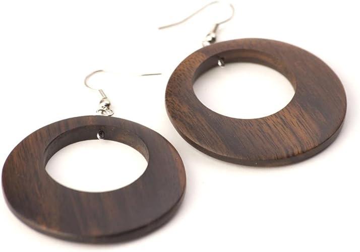 81stgeneration Wood .925 Sterling Silver Long Brown Earrings