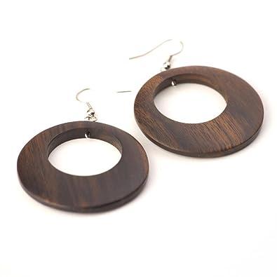 81stgeneration Women's Wood .925 Sterling Silver Brown Round Disc 45 mm Dangle Hoop Earrings AFioF