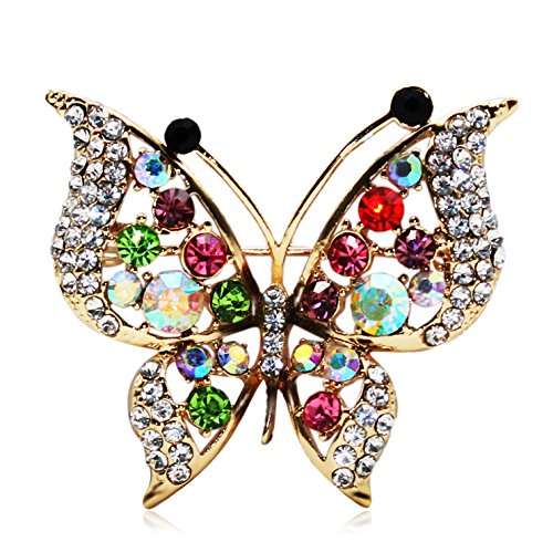 Daintymuse Brooches Pins Flower Butterfly Breastpin Gemstone Crystal Brooch (Stone Flower Brooch)