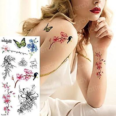 3ps-Tattoo chica pájaro flor espalda brazo manga tatuaje 3ps ...