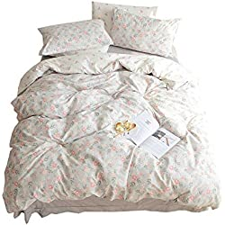 BuLuTu Floral Girls Duvet Cover Set Queen Cotton Grey Reversible Vintage Flower Teen Bedding Sets Full Garden,Premium Super Soft Kids Duvet Cover,Comfortable,Lightweight,Breathable,NO Comforter