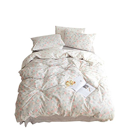 BuLuTu Floral Girls Duvet Cover Set Queen Cotton Grey Reversible Vintage Flower Teen Bedding Sets Full Garden,Premium Super Soft Kids Duvet Cover,Comfortable,Lightweight,Breathable,NO Comforter