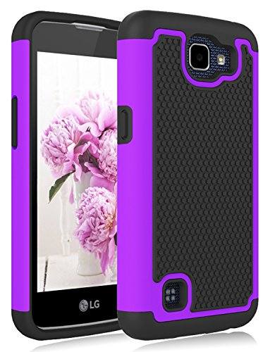 Universal Telephone Zone Interface - LG K4 Purple Case,LG Rebel LTE Case, LG Optimus Zone 3 Case, LG Spree Case, Jeylly [Shock Proof] Scratch Absorbing Hybrid Rubber Plastic Impact Defender Rugged Slim Hard Case Cover Shell - Purple