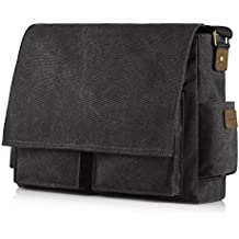 SMRITI 16-Inch Canvas Messenger Shoulder Bag Laptop Crossbody Men Work Book Shool Bag - Black