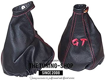 The Tuning-Shop Ltd Gear /& cuffia leva freno a mano nero in pelle italiana blu ricamo logo