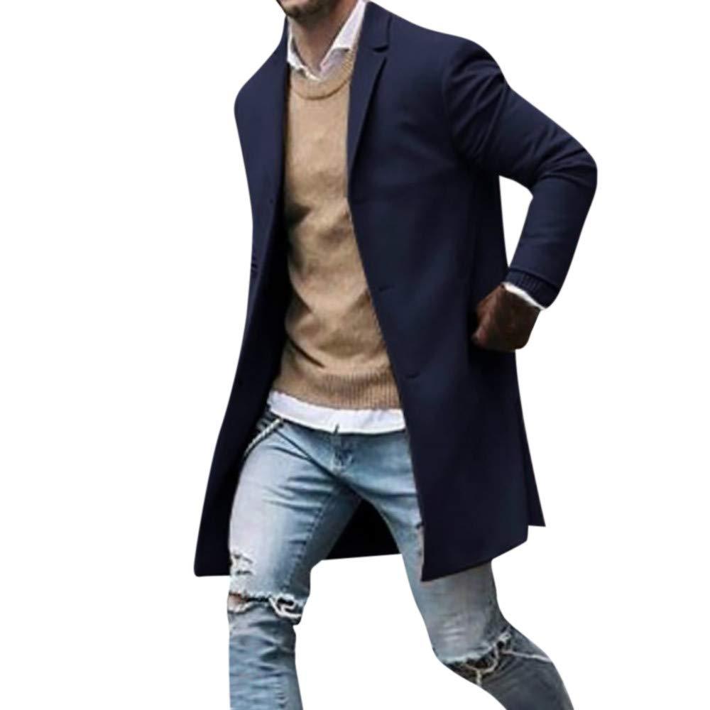 Seaintheson Men's Casual Coat,Fashion Lapel Cardigan Coat Jacket Autumn Winter Button Slim Long Sleeve Suit Jacket Trench Coat