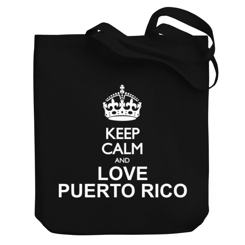 Teeburon Keep calm and love Puerto Rico Canvas Tote Bag