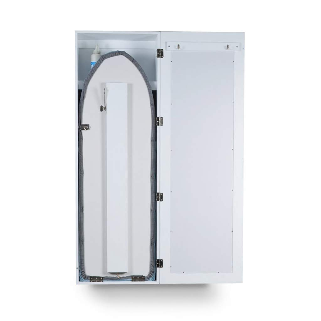 47x16x7inch TT/&CC Planche /à Repasser Murale Armoire de Centre de Repassage /étag/ères de Rangement en Bois avec Porte Miroir Planche /à Repasser Pliable-Blanc H120xW40xD18cm