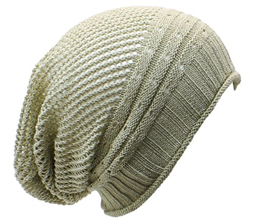 AN- Fashion Lightweight Slouchy Airy Cutout Knit Beanie Hat Cap, Many Styles (Beige Net) ()