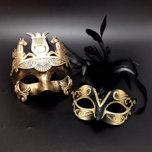 Black Feather & Gold Face Women Mask & Gold Roman Warrior Men Mask Venetian Couple Masks For Masquerade / Party / Ball Prom / Mardi Gras / Wedding / Wall Decoration