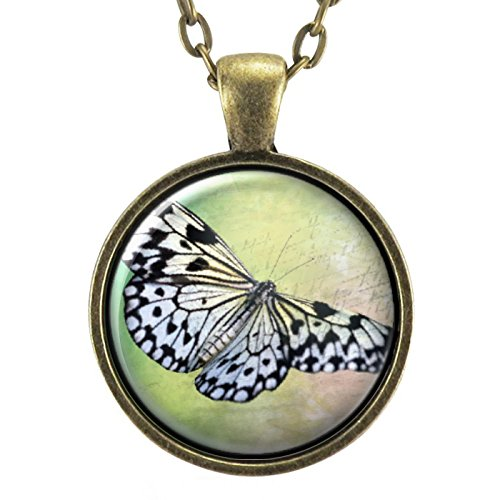 White And Black Stripe Butterfly Necklace, Insect Pendant, Nature Gifts, Boho Bohemian - Pendant White Bronze Stripes