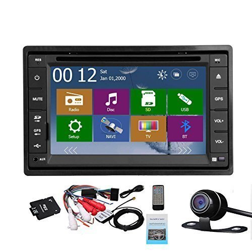 2 Din Car Autoradio Headunit In Dash Stereo 6.2-inch LCD Touch Screen DVD CD Player MP3/MP4/USB/SD/AM/FM Radio Bluetooth Audio GPS Navigation Free GPS Map Waterproof Backup Camera