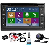 2 Din Car Autoradio Headunit In Dash Stereo 6.2-inch LCD Touch Screen DVD CD Player MP3/MP4/USB/SD/AM/FM Radio Bluetooth Audio GPS Navigation Free GPS Map Waterproof Backup Camera