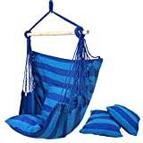 SUPER DEAL Hammock Hanging Chair Air Deluxe Sky Swing Hanging Rope Chair Porch Swing Seat Patio Camping Swing (Blue)