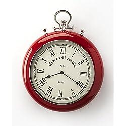 Butler Scarlet Red & Nickel Finish Wall Clock