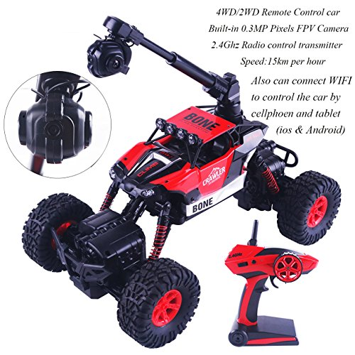 Crazon Remote Control Car with FPV Camera, 4WD / 2WD Electric RC Cars for Adults Kids Gifts, High Speed RC Vehicle 20MPH 2.4Ghz Remote Control, 1/16 Rc Cars Trucks Also Controlled by WIFI