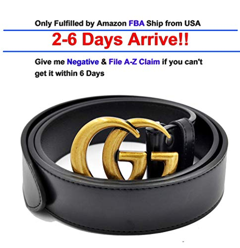 Luxury Designer GG Slim Belt for Women Or Men Unisex [3.8CM width] (Copper Buckle, 115CM [Waist 34-38