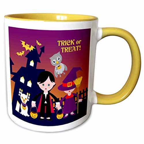 3dRose Belinha Fernandes - Halloween Celebration - Trick or treat message and dog ghost with kids dressed up in dracula and witch costumes - 15oz Two-Tone Yellow Mug -
