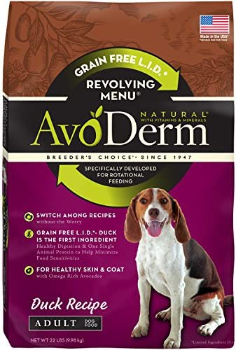AvoDerm Natural Duck Recipe, Food Intolerance and Sensitivities, Revolving Menu Dry Dog Food for Rotational Feeding