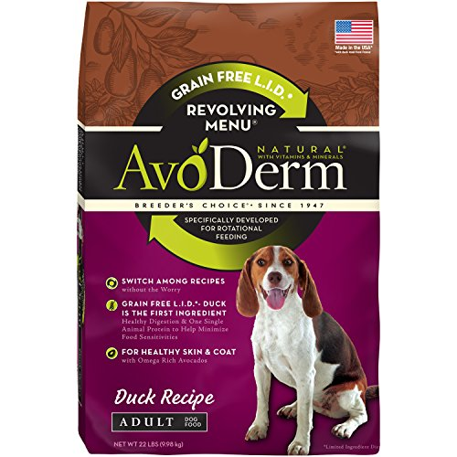 AvoDerm Revolving Menu Grain Free Adult Dry Dog Food, Real Duck Recipe, 22-Pound by AvoDerm
