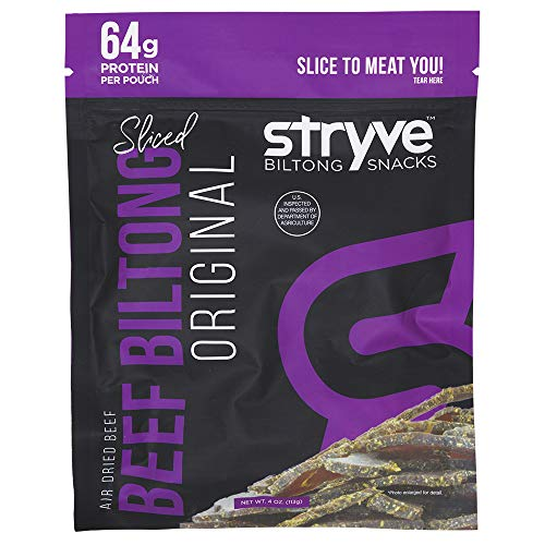 Stryve Keto & Paleo Protein Snack | Air Dried Beef Biltong, Lighter Than Beef Jerky | High Protein, Low Sugar, Low Carb, No Fat, No Gluten, No Soy | Original, 4oz Bag, 1-Pack