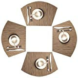 SHACOS Round Table Placemats Set of 4 Wedge Placemats PVC Polyester Heat Resistant Table Mats Washable (4, Bamboo Tan)