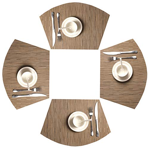 SHACOS Round Table Placemats 70% PVC 30% Polyester Heat Resistant Table Mats Washable (4, Bamboo Tan) by SHACOS