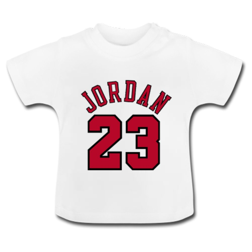 cc1f39efc4006b Cutie Custom Michael Jordan Jersey Baby Classic T-Shirt DIY Infant Soft and  Cozy Cotton T-Shirt White Size 24 Months Apparel