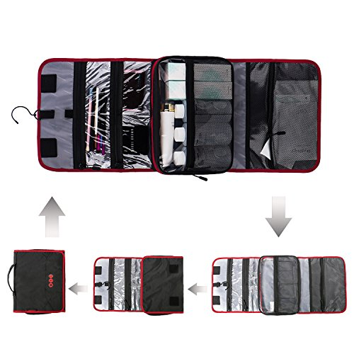 BAGSMART Hanging Travel Toiletry Bag Carry-on Makeup Organizer Folding Cosmetic Bag for Women and Men, Black + Red by BAGSMART (Image #4)