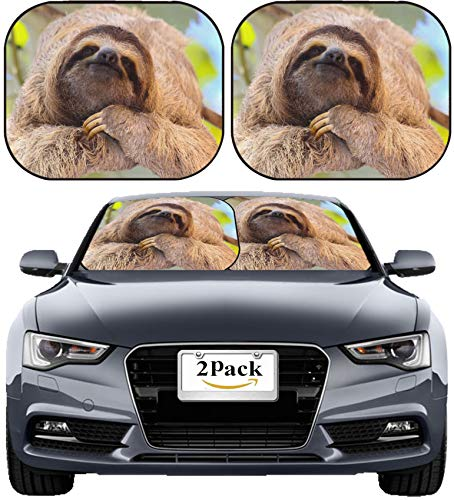 MSD Car Sun Shade Windshield Sunshade Universal Fit 2 Pack, Block Sun Glare, UV and Heat, Protect Car Interior, Image ID: 35577245 Happy Sloth