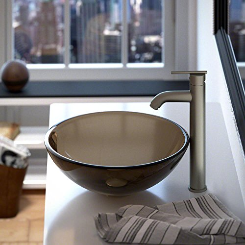 601 Taupe Coloured Glass Vessel Sink by MR Direct (Image #1)