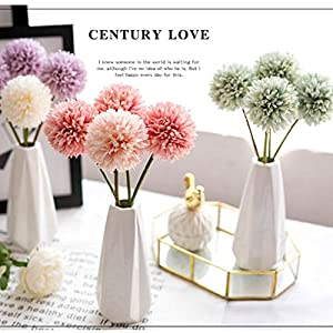 Jasion 10pcs Artificial Chrysanthemum Ball Flowers Bouquet for Present Home Office Coffee House Parties and Wedding Decoration (Light Green) 5