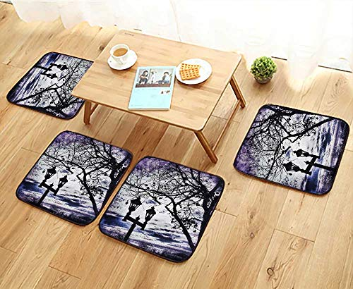 Elastic Cushions Chairs Lamppost with Two Lanterns and Tree Branches Beneath A Purple Winter Sky for Living Rooms W29.5 x L29.5/4PCS Set