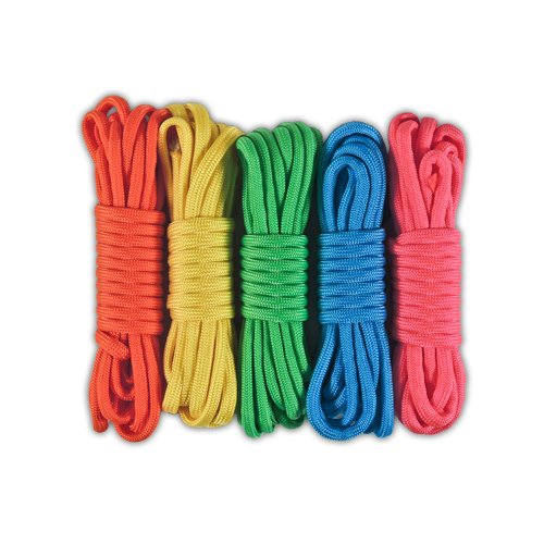 PARACORD PLANET 550lb Paracord Combo Crafting Kits - 5 Colors 50 Feet Total (NEON) ()