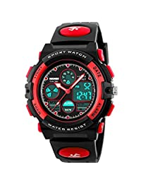 Watch Kid's Watches Boys Analog Digital Quartz Sport Electronic Military Dual Time Waterproof LED Back Light 164Ft 50M Water Resistant Calendar Alarm Stopwatch Multifunction (red)