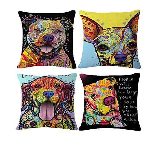 AmazoHome Decorative Cotton Throw Pillow Covers Wolf and Dog Accent Graffiti Farmhouse Allergy Pillowcase(Pack of 4,18x18 inches)