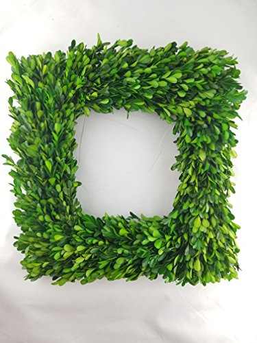 (Tradingsmith Preserved Boxwood Square Wreath - 17