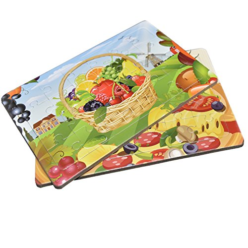 Fayoo Jigsaw Puzzles for Kids - Fruit Basket and Pizza Playing and Learning Set for 3 to 10 Years Children (7.1'' x 4.7'' 24-Piece Each) 2 Pack