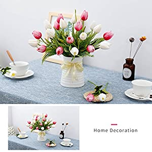 YILIYAJIA Artificial Tulips Flowers with Ceramics Vase Fake Tulip Bridal Bouquets Real Touch Flowers Arrangement for Home Table Wedding Office Decoration(White&Red) 5