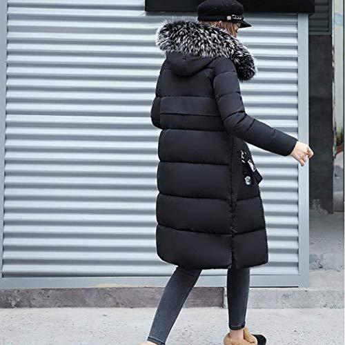 Cappotto Grazioso Invernali Manica Autunno Tasche Donna Piumino Elegante Unico Lunga Cappuccio Femminilità Schwarz Imbottitura Moda Outerwear Con Mantello Calda Festa Giaccone Trapuntato Style PXafP