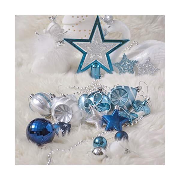 Valery Madelyn Palle di Natale 70 Pezzi di Palline di Natale, 3-10 cm Auguri Invernali Argento e Blu Infrangibili Palle di Natale Ornamenti Decorazione per la Decorazione Dell'Albero di Natale 6 spesavip