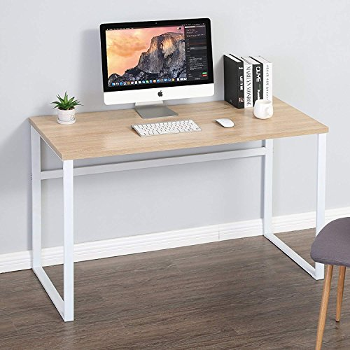 Homury Computer Desk Office Desk Wood Study Writing Soho Desk Table for Home Office,White by Homury