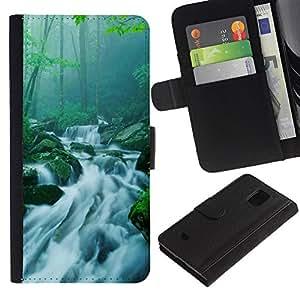 Planetar® Modelo colorido cuero carpeta tirón caso cubierta piel Holster Funda protección Para Samsung Galaxy S5 Mini / SM-G800 (Not For S5!!!) ( Nature Bamboo Waterfall )