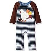 Mud Pie Baby Boys' Thanksgiving Turkey Long Sleeve Raglan One Piece Playwear, Brown, 0-3 MOS
