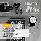 Travel adapter Outlet adapter travel accessory with dual USB ports Universal Charger (UK, US, AU, Europe & Asia) International Power Plug Adaptor with safety fuse makes a great travel gift