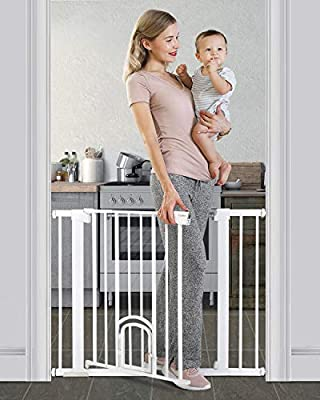 """Cumbor 40.6""""Auto Close Safety Baby Gate with Arch Cat Door, Extra Wide Durability Pet Gate for Dog, Easy Walk Thru Child Gate for Stairs,Doorways. Included 2.75-Inch and 5.5-Inch Extension"""