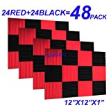 48 Pack BLACK RED Acoustic Foam Panel Wedge Studio Soundproofing Wall Tiles 12'' X 12'' X 1''