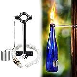 LANMU Wine Bottle Tiki Torch,Bottle Torch,DIY Home Decor Kit,Tiki Bar Lighting,Glass Bottle Light for Wine Bottles